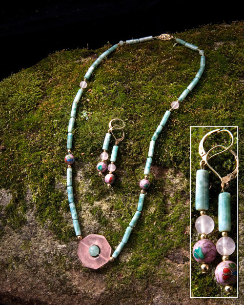 Greentree, Cloisonne' and Rose Quartz