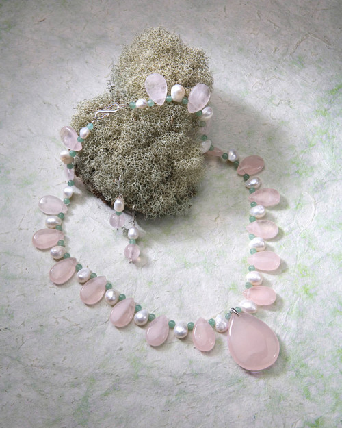 Rose Quartz, Pearls and Aventurine