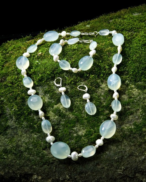 Seafoam Chalcedony and Pearls
