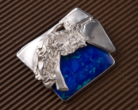 Azurite and Turquoise in Sterling Setting