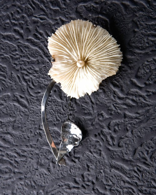 Pansy Pin - Mushroom Coral and Natural Pearl