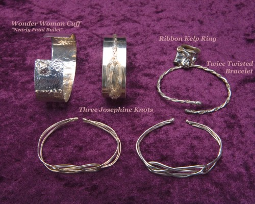 Five Sterling Bracelets and a Tie Bar/Money Clip