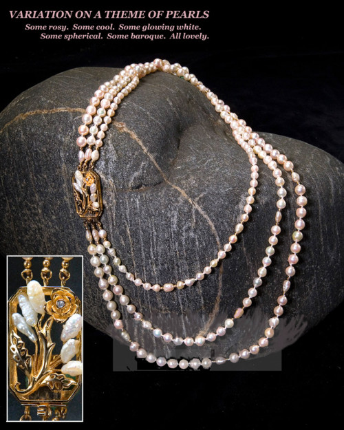 Three Strand Natural Pearls with Fancy Clasp
