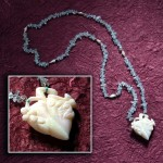 Antique Carved Opal 3D Heart with Aquamarine